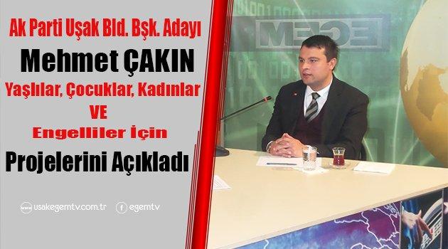 Ak Parti Belediye Başkan Adayı Mehmet Çakın Projelerini Açıkladı.