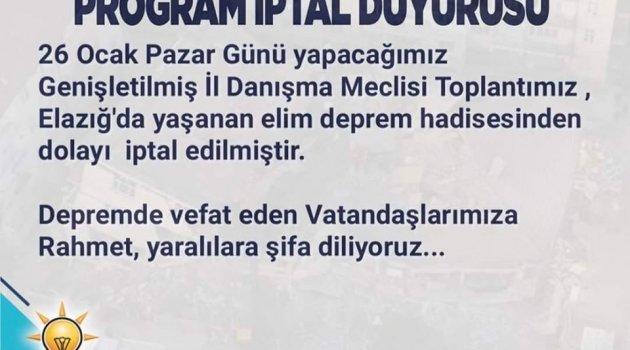 AK PARTİ UŞAK İL BAŞKANLIĞINDAN ÖNEMLİ DUYURU.. İPTAL OLDU..