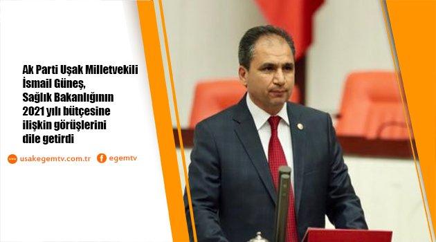 AK Parti Uşak Milletvekili İsmail Güneş,Sağlık Bakanlığının 2021 yılı bütçesine ilişkin görüşlerini dile getirdi.