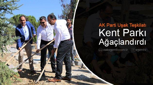 AK Parti Uşak Teşkilatı Kent Park'ı Ağaçlandırdı