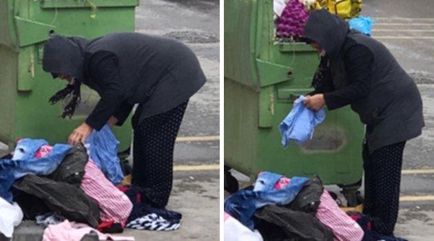 Çöpten Çocuk Elbisesi Beğenen Kadın, Bayram Öncesi Yüreklerimizi Sızlattı