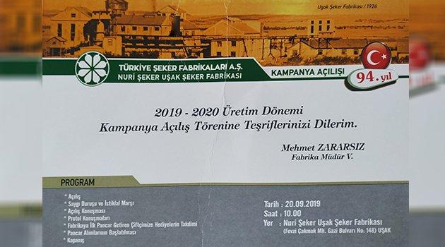 Nuri Şeker Uşak Şeker Fabrikası'nda 2019-2020 Üretim Dönemi Kampanya Açılış Töreni