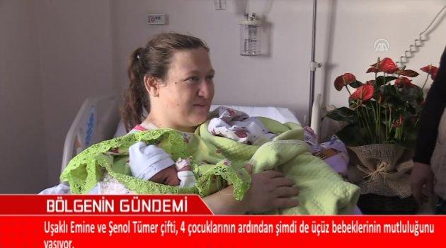Uşaklı Emine ve Şenol Tümer Çifti, 4 Çocuklarının Ardından Şimdi de Üçüz Bebeklerinin Mutluluğunu Yaşıyor.